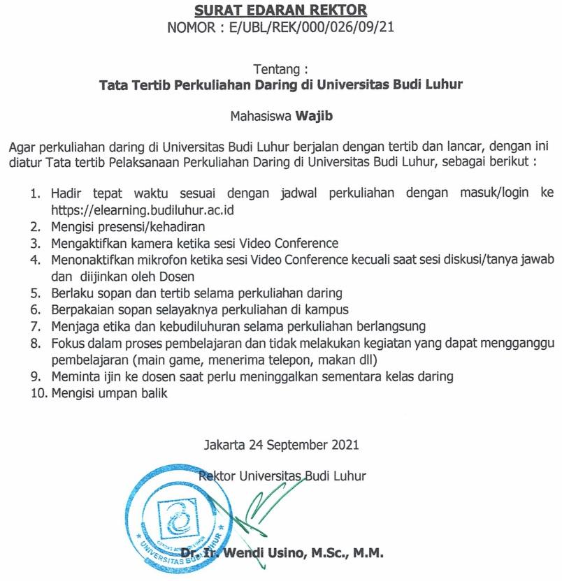 Surat Edaran Rektor